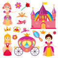 Cute fairytale princess, pink carriage, crown, castle, cartoon little girl tiara vector set Royalty Free Stock Photo