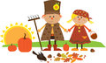 Cute fall character vector illustration of scarecrow couple holding hands eps Royalty Free Stock Images