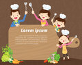 Cute family cooking background