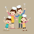 Cute family cooking