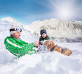 Cute family scene: father and son play with dog during mountain Royalty Free Stock Photo