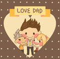 Cute family son daughter father love dad father s day consist of and for his children hug him has heart shape and text vector Stock Image