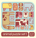 Cute farm animal icons puzzle set of stylized that fit together Stock Photos