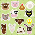 Cute farm animals illustration set of illustrations of Royalty Free Stock Photos