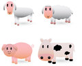 Cute farm animals vector set of animal illustrations Royalty Free Stock Photo