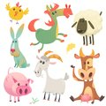 Cute farm baby animals set collection. Vector illustration of cow, horse, chicken, bunny rabbit, pig, goat and sheep. Royalty Free Stock Photo