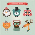 Cute fashion hipster animals pets this is file of eps format Stock Photography