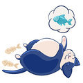 Cute fat blue cat stuffed and asleep, dreaming about fish. Scraps and fish bones. Royalty Free Stock Photo