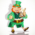 Cute fat Leprechaun with a pot of ale froth Stock Photos