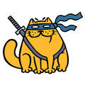 Cute fat ninja cat in a mask and a sword. Vector illustration.