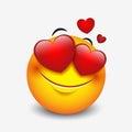 Cute feeling in love emoticon on white background - emoji, smiley - vector illustration