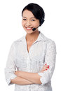 Cute female call centre executive confident Stock Photos