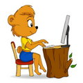 Cute female cartoon bear typing on computer Royalty Free Stock Images