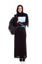 Cute female muslim college student isolated white Royalty Free Stock Photography
