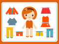 Cute female paper doll with the variety of bright colorful clothes vector illustration.