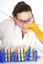Cute female researcher in laboratory Royalty Free Stock Photo