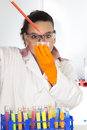 Cute female researcher in laboratory Royalty Free Stock Photography
