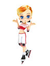 Cute female toon with skates posing on a white background Stock Photo