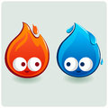 Cute fire and water characters two representing a flame a drop Stock Photos