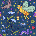 Cute firefly vector illustration of seamless pattern with in the night Stock Photos
