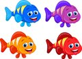 Cute fish cartoon collection set illustration of Stock Image