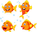 Cute fish cartoon collection set illustration of Stock Photo