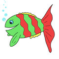 Cute fish cartoon hand drawn Royalty Free Stock Images