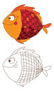 Cute fish in color and outline Royalty Free Stock Image