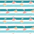 Cute flamingos on blue stripes background seamless pattern illustration