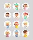 Cute flat avatars portraits kids.