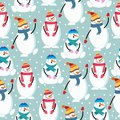 Cute flat design Christmas seamless pattern with snowman