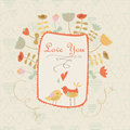 Cute floral background with birds tender and flowers in cartoon style valentine card wedding invitation Stock Photo