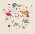 Cute floral background with birds tender heart and flower in cartoon style valentine card wedding invitation Stock Image