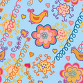 Cute floral bright seamless pattern Royalty Free Stock Photos