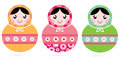 Cute floral colorful matryoshka set traditional russian dolls vector illustration Royalty Free Stock Image