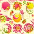 Cute floral design elements.
