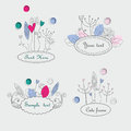 Cute floral frames with hand drawn flowers leaves and hearts in cartoon style Royalty Free Stock Photography