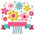 Cute floral greeting card template with bright colored retro flower posy and ribbon banner Royalty Free Stock Image