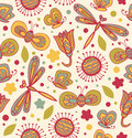 Cute floral pattern with flowers, dragonflies and butterflies. Ornate fabric seamless texture Royalty Free Stock Photo