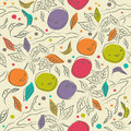 Cute floral pattern with orange branches decorative ornate seamless background beautiful fabric texture Stock Photo