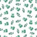 Cute Floral pattern of green small flowers and leaves. Seamless hand watercolor texture. Elegant template for fashion prints.