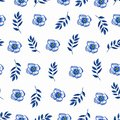 Cute Floral pattern of blue small flowers and leaves. Seamless hand watercolor texture. Elegant pattern for fashion prints.