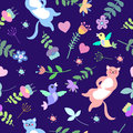 Cute floral seamless pattern with cats, birds and flowers Royalty Free Stock Photo