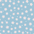 Cute floral seamless pattern. Chaotically placed single abstract flowers and dots.