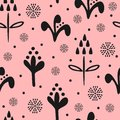 Cute floral seamless pattern drawn by hand. Repeated abstract black silhouettes of flowers on pink background. Royalty Free Stock Photo