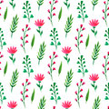 Cute floral seamless pattern. Summer flowers, branches and leaves. Vector watercolor painting, for wallpaper, packaging, textile Royalty Free Stock Photo