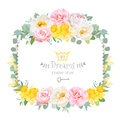 Cute floral square vector design frame with wild rose, narcissus, camellia, peony, green eucaliptus