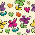 Cute Flower cartoon with love Seamless pattern design Royalty Free Stock Photo