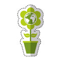 cute flower with earth planet Royalty Free Stock Photo