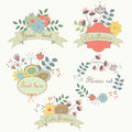 Cute flower set with romantic flowers frames and ribbons Stock Photography